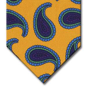Gold with Navy and Blue Paisley Tie