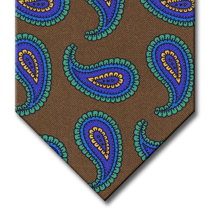 Brown with Green and Navy Paisley Tie