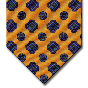 Gold with Purple and Blue Geometric Pattern Tie
