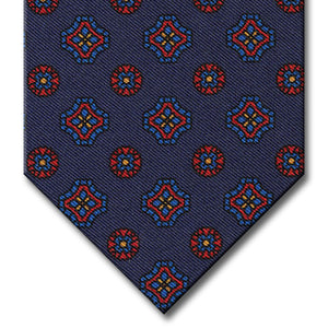 Navy with Blue and Red Geometric Pattern Tie