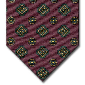 Burgundy with Green and Tan Geometric Pattern Tie