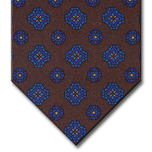Brown with Navy and Blue Geometric Pattern Tie