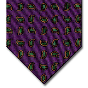 Purple with Gold and Green Paisley Tie