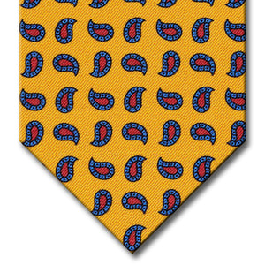 Gold with Blue and Red Paisley Tie
