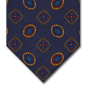 Navy with Gold and Red Geometric Pattern Tie