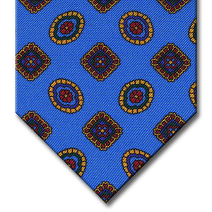Light Blue with Gold and Red Geometric Pattern Tie