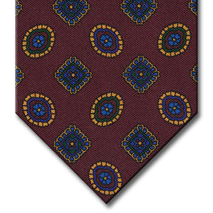 Burgundy with Blue and Gold Geometric Pattern Tie
