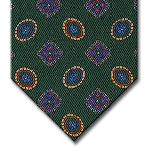 Green with Blue and Gold Geometric Pattern Tie