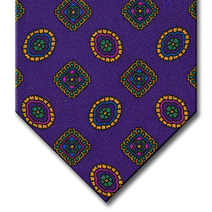 Purple with Blue and Gold Geometric Pattern Tie