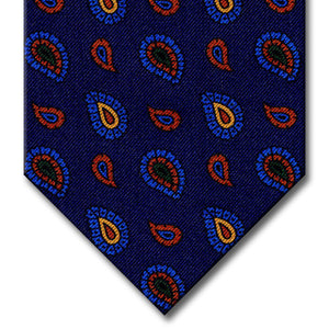 Navy with Blue and Brown Paisley Tie