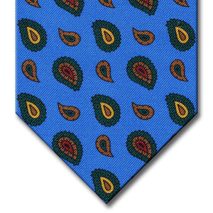 Light Blue with Green and Brown Paisley Tie