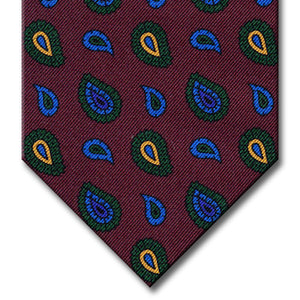 Burgundy with Green and Gold Paisley Tie