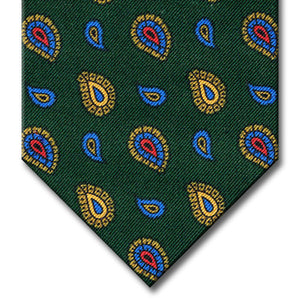 Green with Blue and Gold Paisley Tie