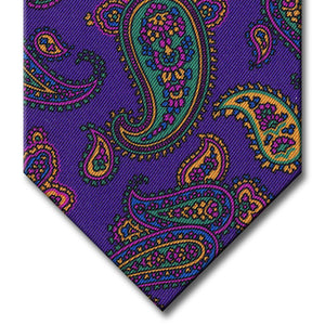 Purple with Green and Pink Paisley Tie
