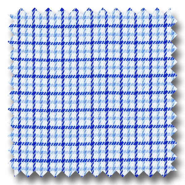 Blue and Navy Check 2Ply Twill - Custom Dress Shirt