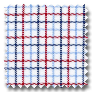 Light Blue, Navy and Red Check Twill - Custom Dress Shirt