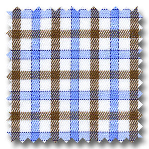 Light Blue and Brown Check 2Ply Twill - Custom Dress Shirt