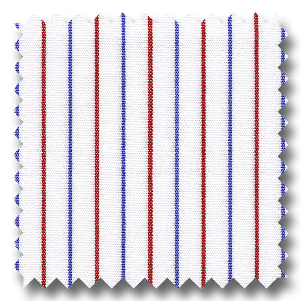Blue and Red Stripe 2Ply Broadcloth - Custom Dress Shirt