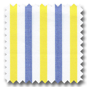 Blue and Yellow Stripe 2Ply Broadcloth - Custom Dress Shirt
