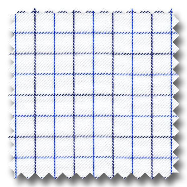 Blue and Gray Check 2Ply Twill - Custom Dress Shirt