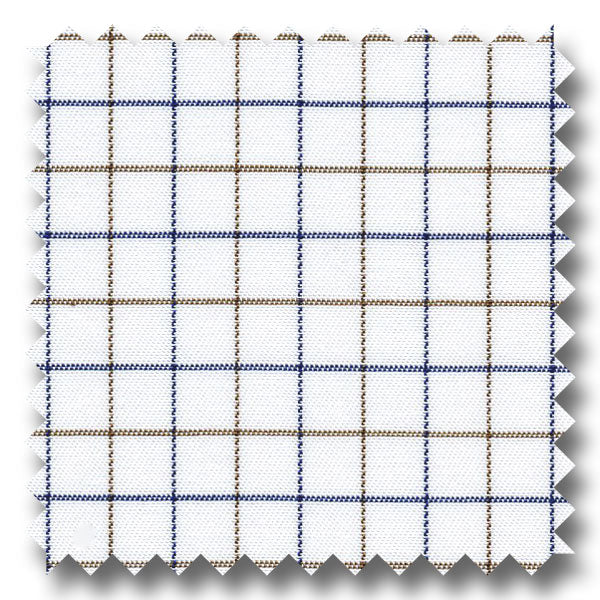 Blue and Brown Check 2Ply Twill - Custom Dress Shirt