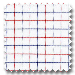 Navy and Red Check 2Ply Twill - Custom Dress Shirt