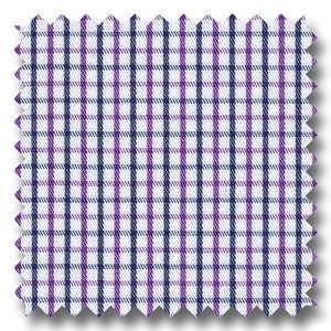 Navy and Plum Check 2Ply Twill - Custom Dress Shirt