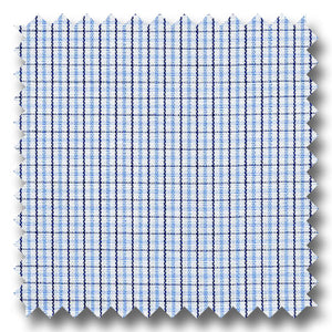 Blue and Brown Check Broadcloth - Custom Dress Shirt