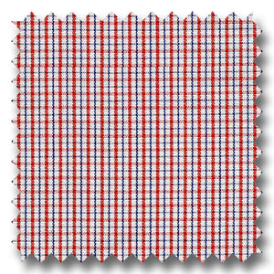 Red and Blue Check Broadcloth - Custom Dress Shirt