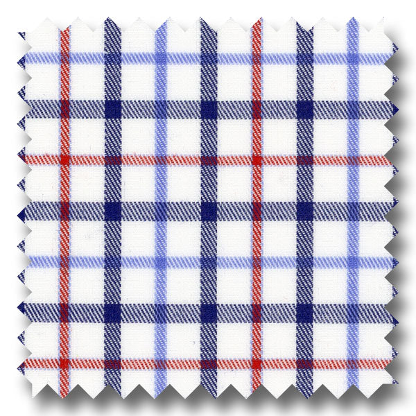 Blue, Navy and Red Check Twill - Custom Dress Shirt