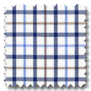 Blue, Navy and Brown Check Twill - Custom Dress Shirt