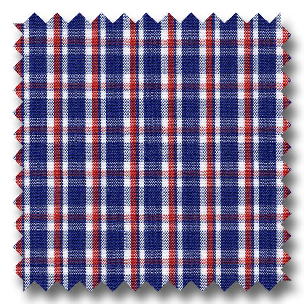 Navy and Red Check Broadcloth - Custom Dress Shirt