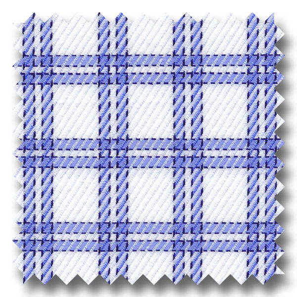Blue and Navy Check 2Ply Dobby - Custom Dress Shirt