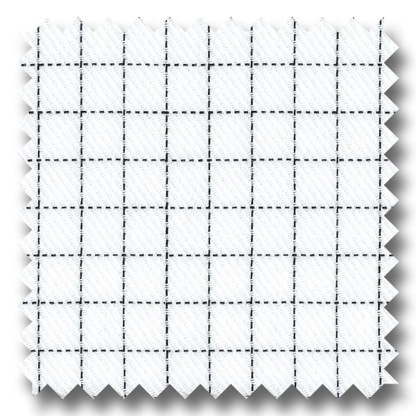 White with Black Mini Grid Check Twill - Custom Dress Shirt