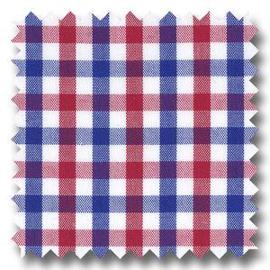 Blue and Red Gingham Check Broadcloth - Custom Dress Shirt