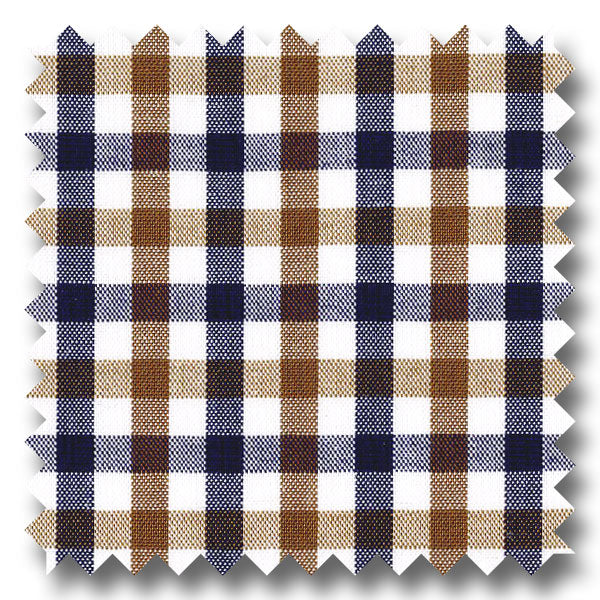 Blue and Brown Gingham Check Broadcloth - Custom Dress Shirt