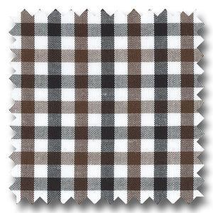 Black and Brown Gingham Check Broadcloth - Custom Dress Shirt
