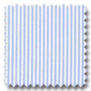 White with Light Blue Bengal Stripe Pinpoint - Custom Dress Shirt