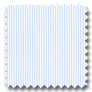White with Light Blue Hairline Stripe Pinpoint - Custom Dress Shirt