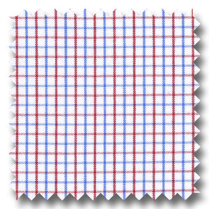 Red and Blue Tattersall Check Broadcloth - Custom Dress Shirt