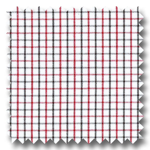 Red and Black Tattersall Check Broadcloth - Custom Dress Shirt