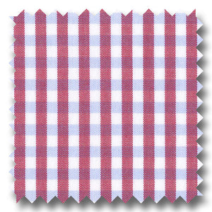 Red and Blue Gingham Check Broadcloth - Custom Dress Shirt