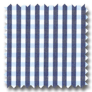 Blue and Gray Gingham Check Broadcloth - Custom Dress Shirt