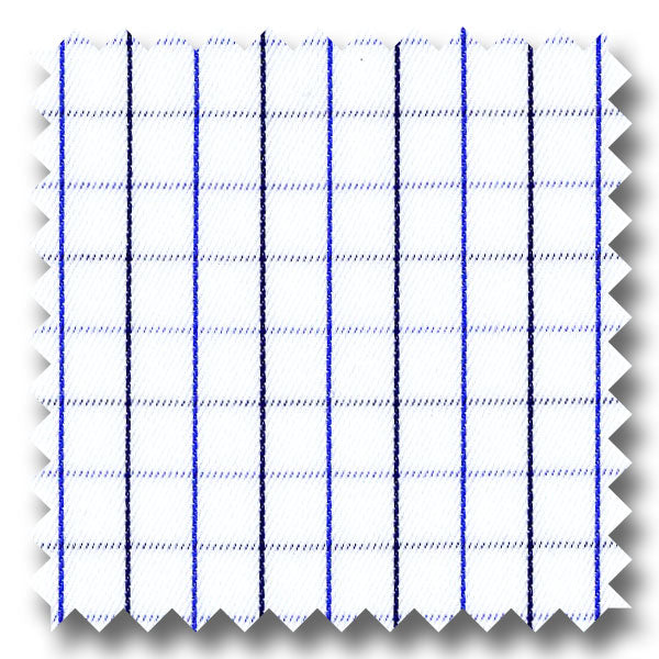 White with Blue and Navy Mini Grid Check Twill - Custom Dress Shirt