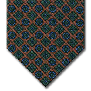 Brown with Green and Blue Geometric Pattern Tie