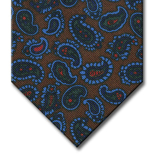 Brown with Navy and Blue Paisley Tie