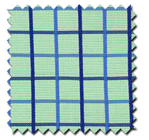 Aqua Green with Blue Grid Checks - Custom Dress Shirts