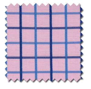Pink with Blue Grid Checks - Custom Dress Shirts