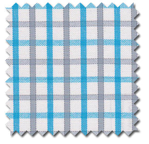 Azure Blue & Gray Grid Checks - Custom Dress Shirts