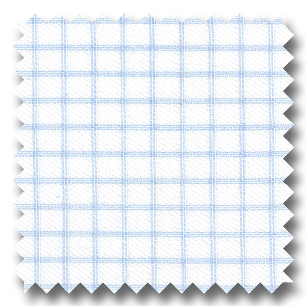 Light Blue Check 2Ply Twill - Custom Dress Shirt